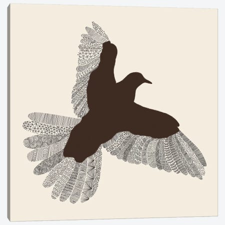 Bird on Beige Canvas Print #FLB12} by Florent Bodart Canvas Art