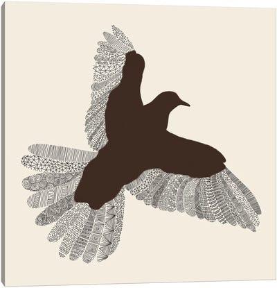 Bird on Beige Canvas Print #FLB12