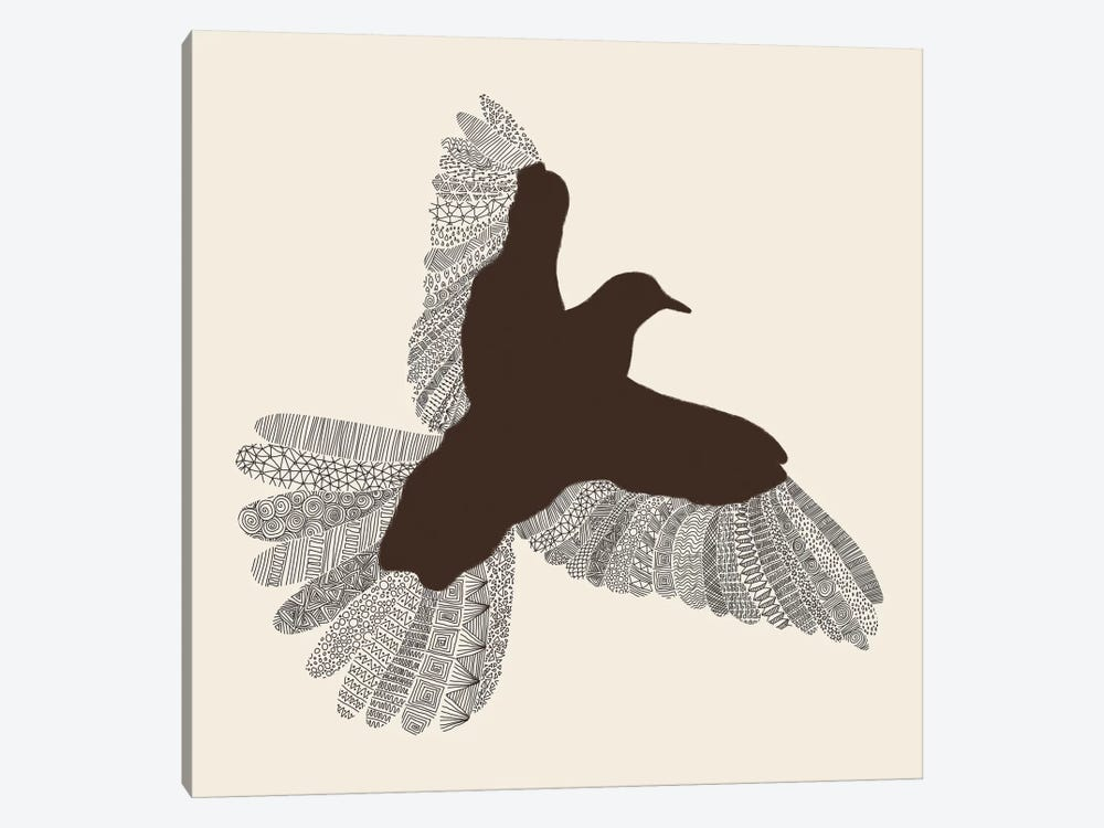 Bird on Beige by Florent Bodart 1-piece Art Print