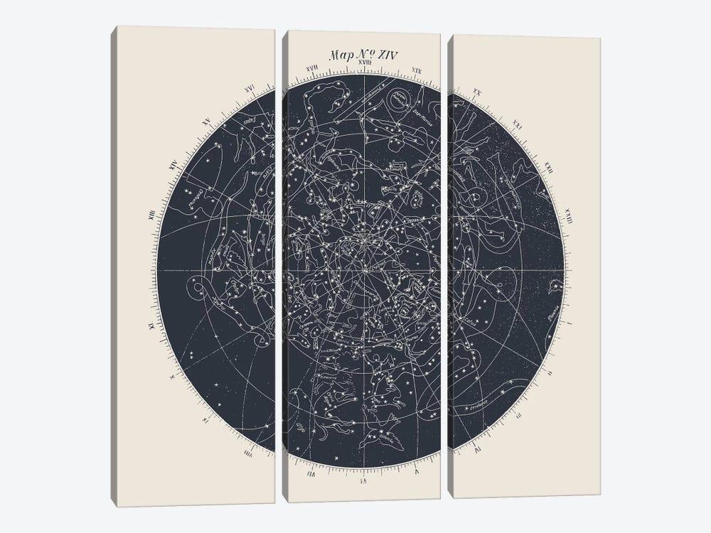 Map n°XIV by Florent Bodart 3-piece Canvas Artwork