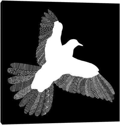 Bird on Black Canvas Print #FLB13