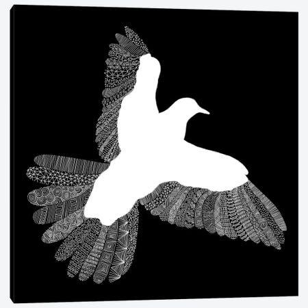 Bird on Black Canvas Print #FLB13} by Florent Bodart Canvas Art