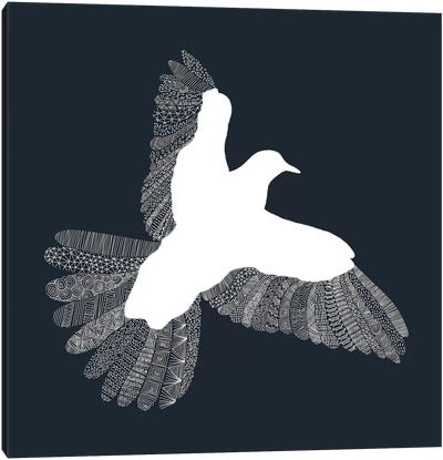 Bird on Blue Canvas Print #FLB14