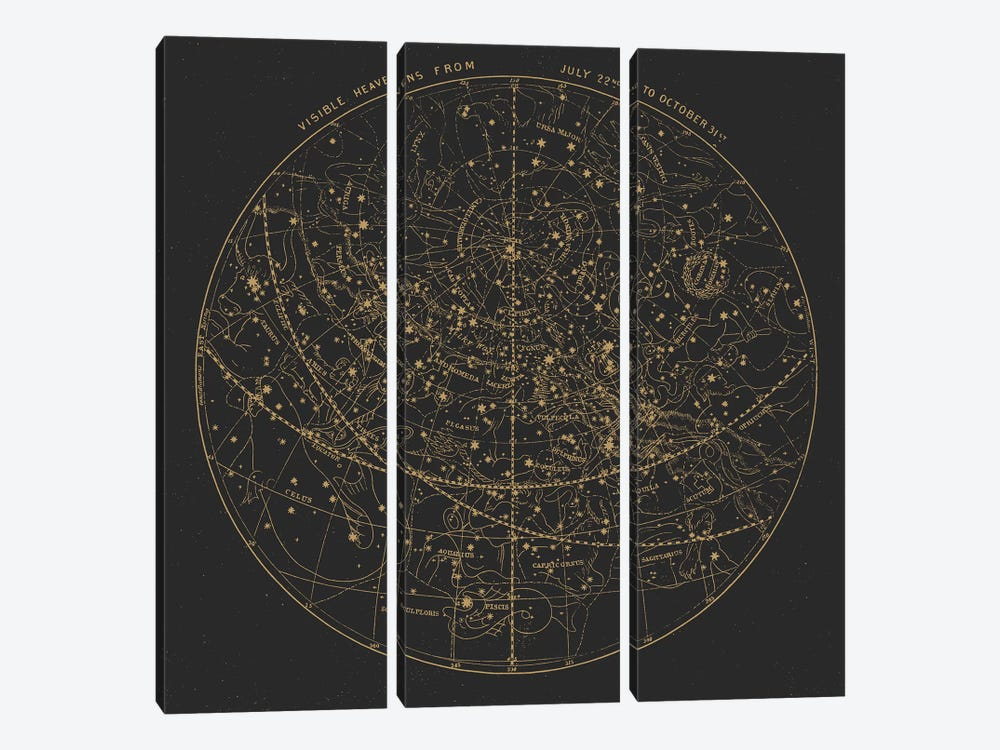 Visible Heavens On Dark by Florent Bodart 3-piece Canvas Wall Art