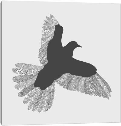 Bird on Grey Canvas Art Print
