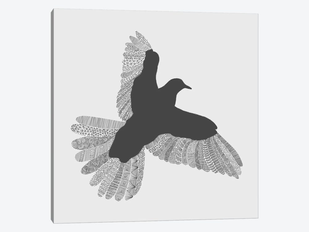Bird on Grey by Florent Bodart 1-piece Canvas Art
