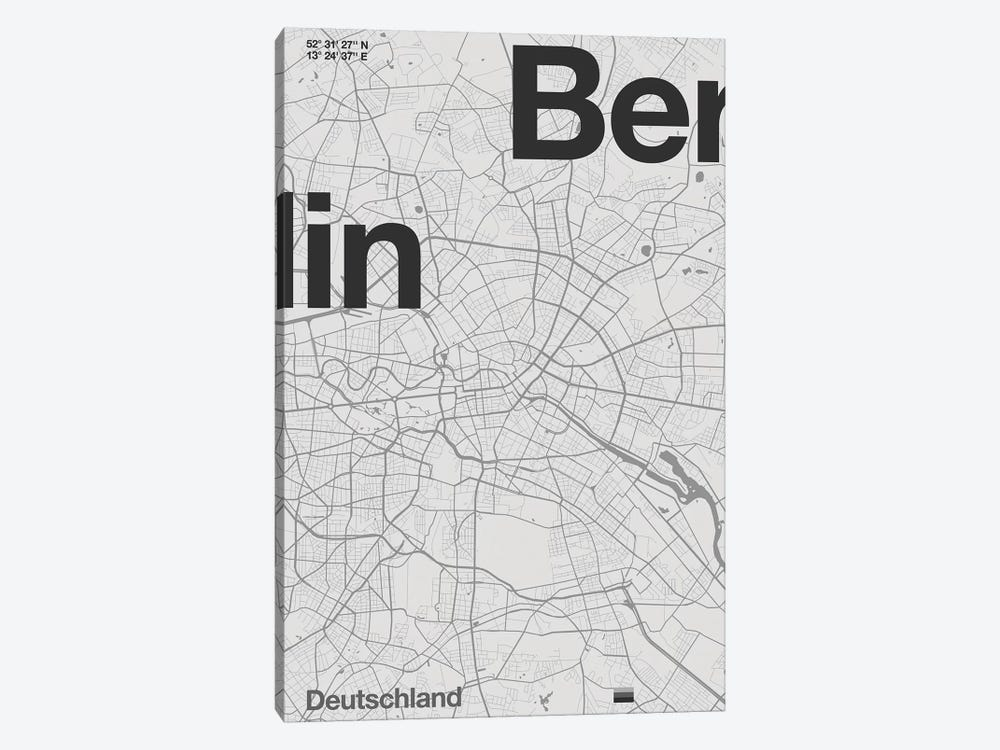 Berlin Map by Florent Bodart 1-piece Canvas Art Print