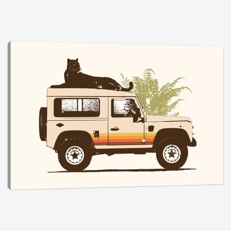 Black Panther On Car Canvas Print #FLB164} by Florent Bodart Canvas Art