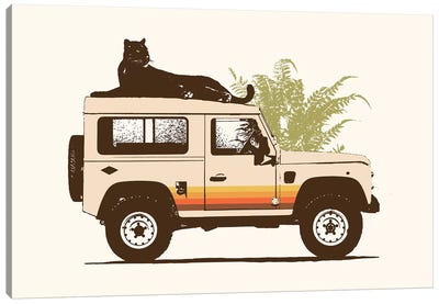 Black Panther On Car Canvas Art Print