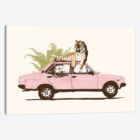 Tiger On Car Canvas Print #FLB165} by Florent Bodart Canvas Artwork