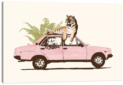 Tiger On Car Canvas Art Print