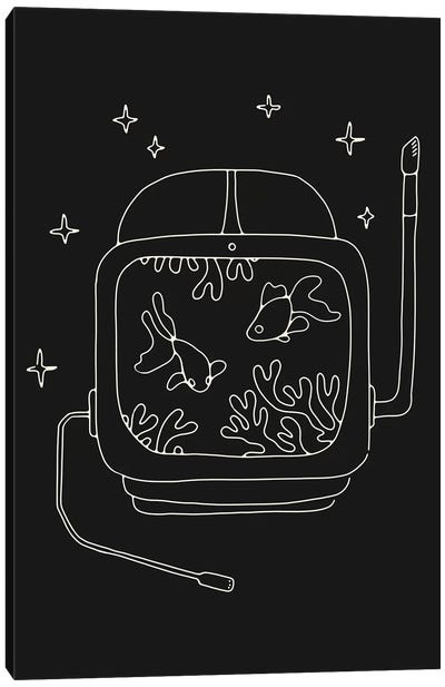 Astronaut And Fishes Canvas Art Print