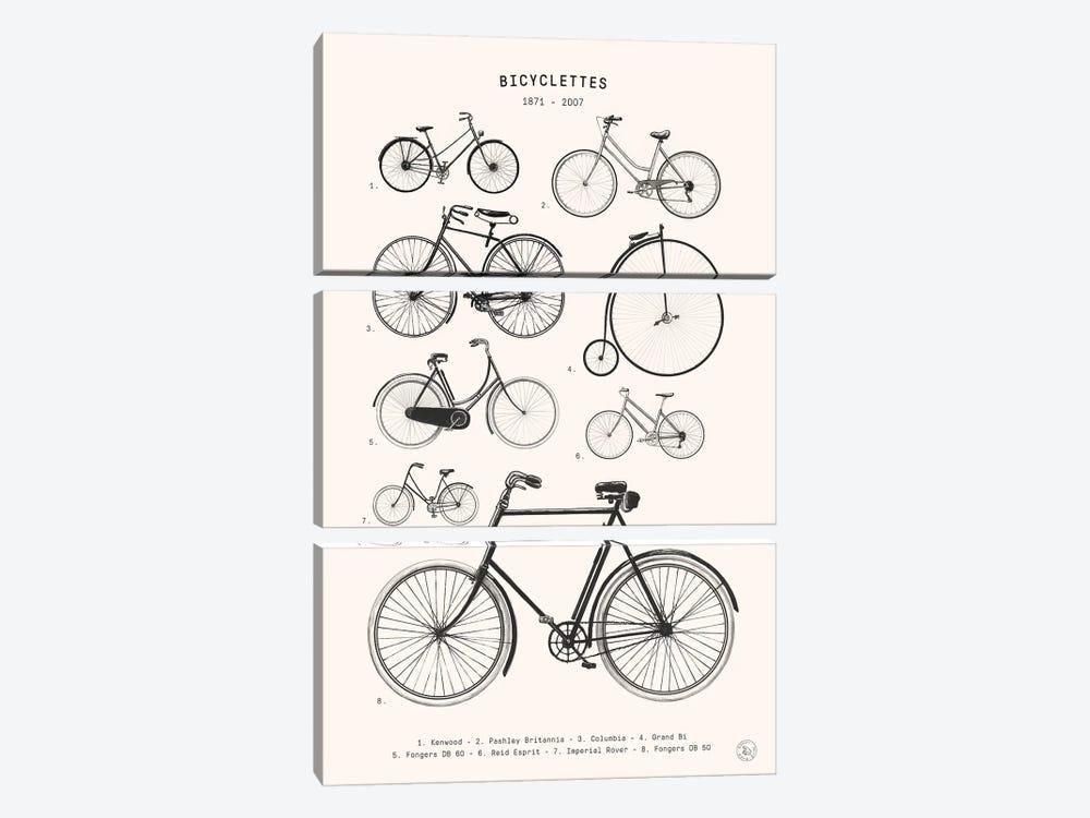 Bicyclettes by Florent Bodart 3-piece Canvas Wall Art