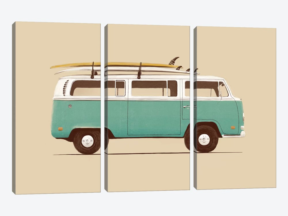 Blue Van by Florent Bodart 3-piece Canvas Wall Art