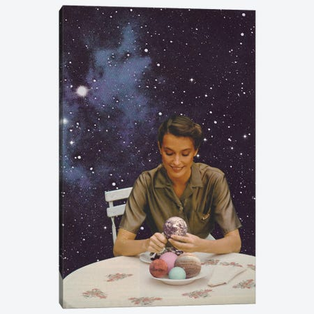 Woman Peeling The Earth - Bon Appetit - Collage Canvas Print #FLB184} by Florent Bodart Canvas Art