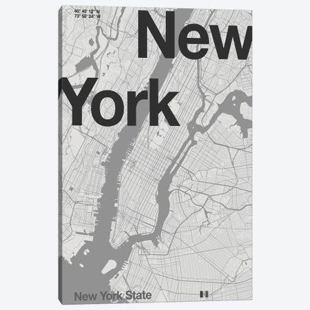 New York - Minimal Map Canvas Print #FLB187} by Florent Bodart Canvas Art