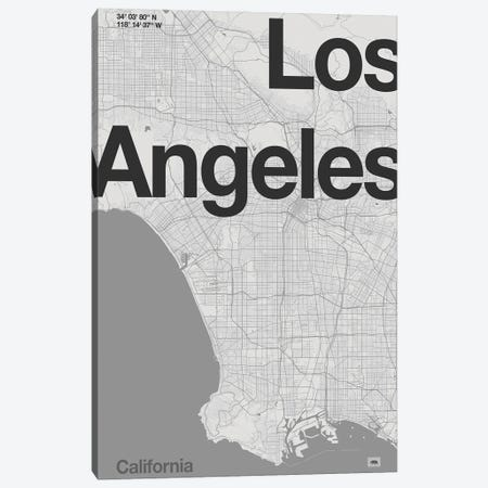 Los Angeles - Minimal Map Canvas Print #FLB188} by Florent Bodart Canvas Art Print