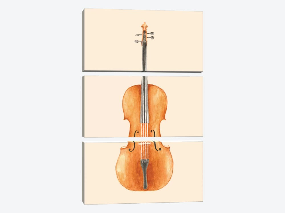Cello by Florent Bodart 3-piece Canvas Print