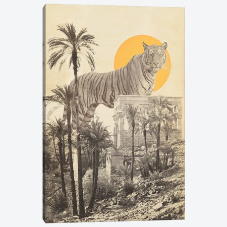 Giant Tiger in Ruins with Palms Canvas Print #FLB191} by Florent Bodart Canvas Artwork