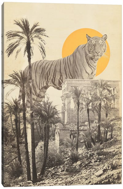 Giant Tiger in Ruins with Palms Canvas Art Print