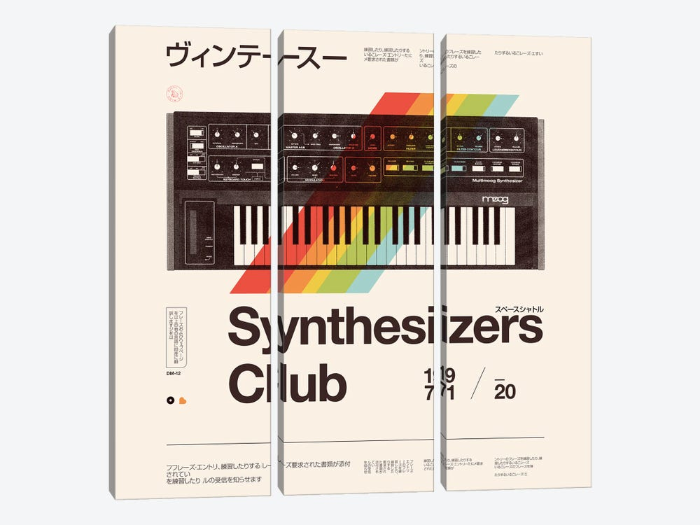 Synthesisers Club by Florent Bodart 3-piece Canvas Artwork