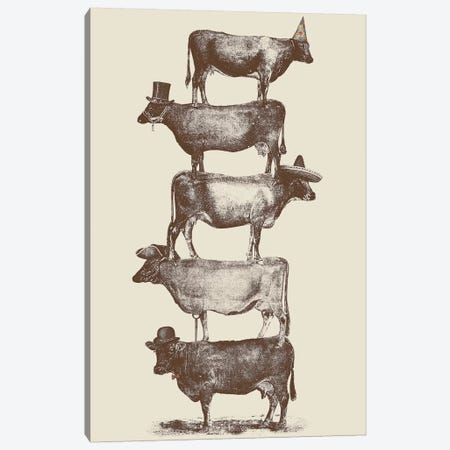 Cow Cow Nuts Canvas Print #FLB20} by Florent Bodart Art Print
