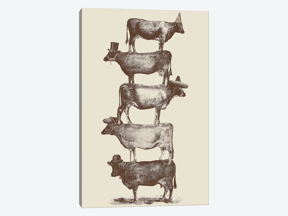 Cow Cow Nuts by Florent Bodart 1-piece Canvas Artwork