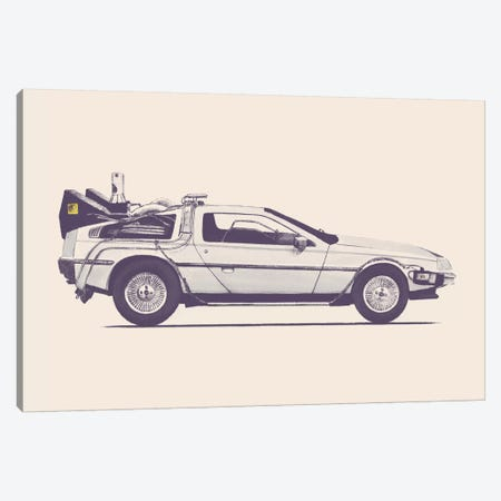 DeLorean - Back To The Future Canvas Print #FLB26} by Florent Bodart Canvas Wall Art