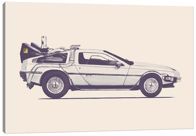 DeLorean - Back To The Future Canvas Print #FLB26