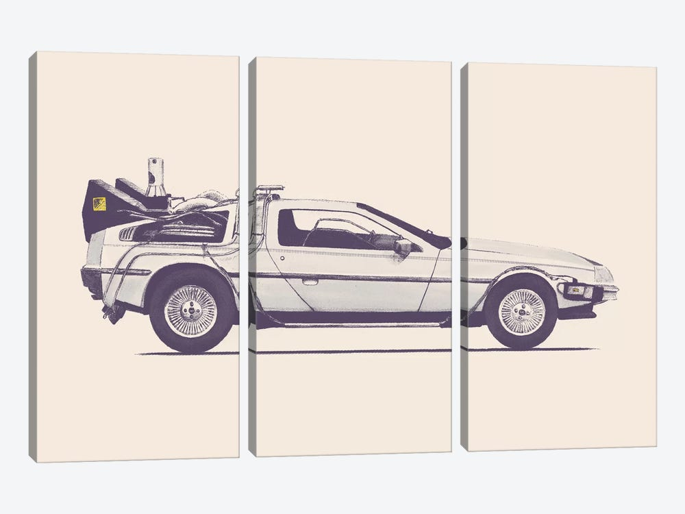 DeLorean - Back To The Future by Florent Bodart 3-piece Canvas Wall Art