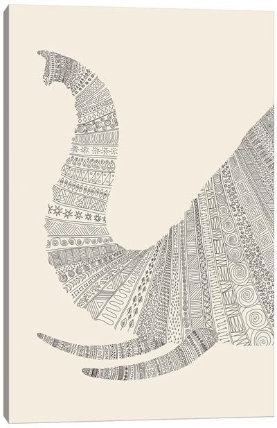Elephant on Beige Canvas Art Print