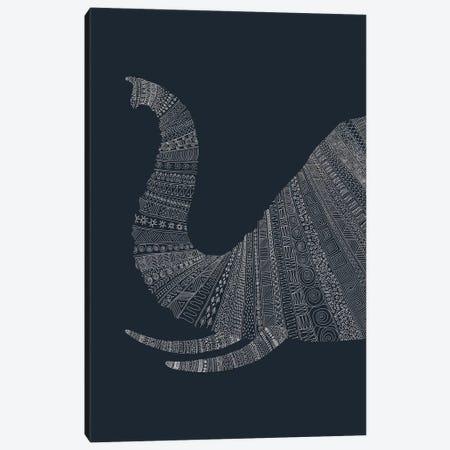 Elephant on Blue Canvas Print #FLB32} by Florent Bodart Canvas Artwork