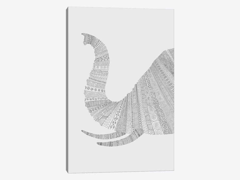 Elephant on Grey 1-piece Canvas Wall Art