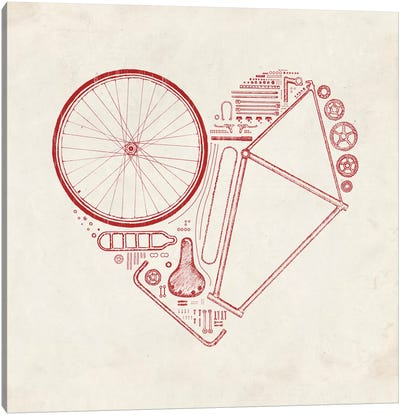 Love Bike in Red Canvas Art Print