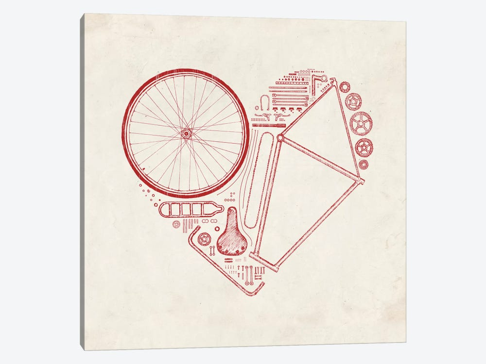 Love Bike in Red 1-piece Canvas Wall Art