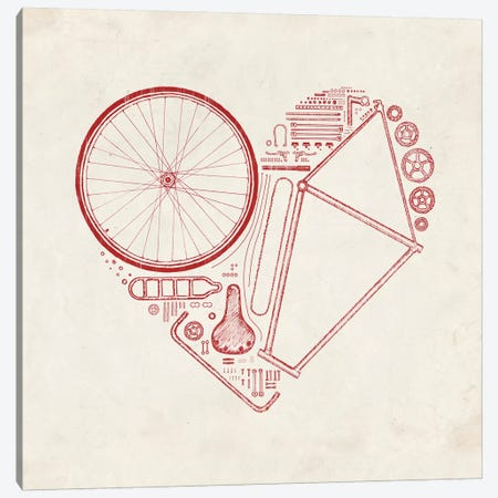 Love Bike in Red Canvas Print #FLB48} by Florent Bodart Art Print