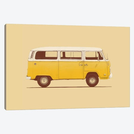 Yellow Van Canvas Print #FLB57} by Florent Bodart Art Print