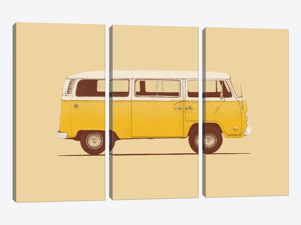 Yellow Van by Florent Bodart 3-piece Canvas Wall Art