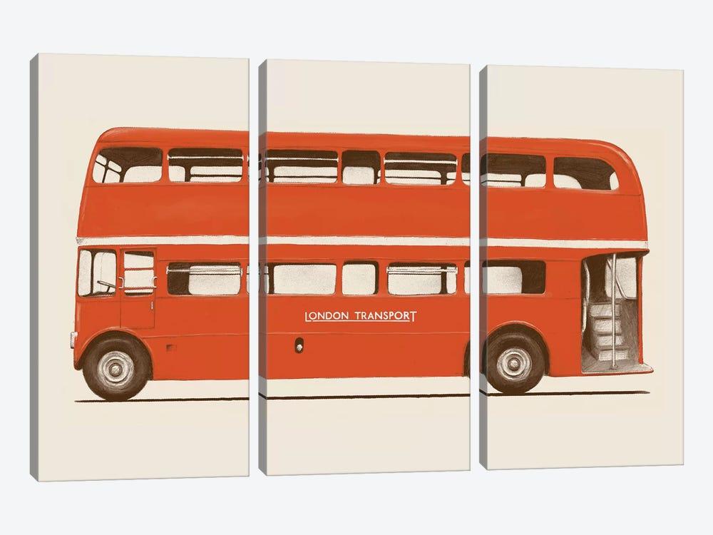 English Bus (London Transport Double-Decker) by Florent Bodart 3-piece Canvas Art