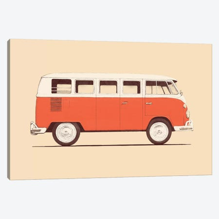 Red Van Canvas Print #FLB71} by Florent Bodart Canvas Art