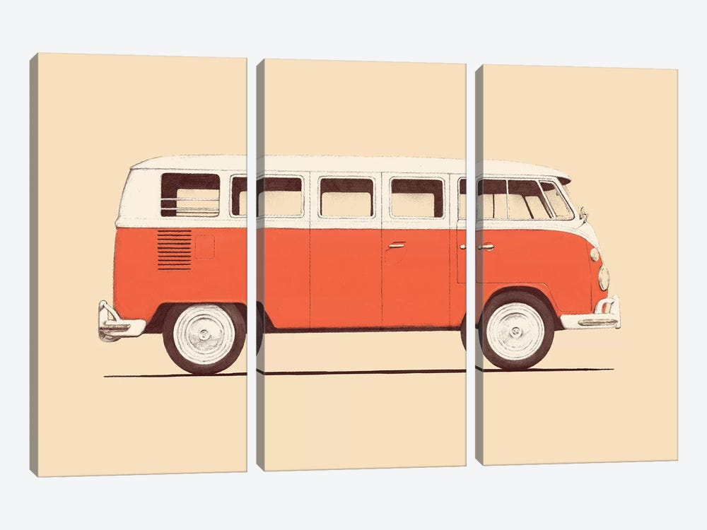 Red Van by Florent Bodart 3-piece Canvas Art