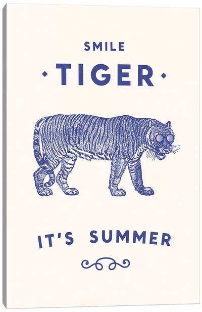 Smile Tiger, Summer Is Here Canvas Art Print