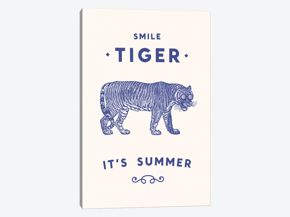 Smile Tiger, Summer Is Here by Florent Bodart 1-piece Canvas Print