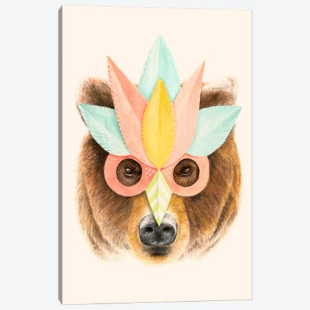 Bear Paper Mask Print Canvas Print #FLB75} by Florent Bodart Art Print