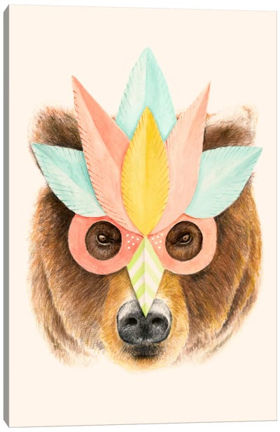 Bear Paper Mask Print Canvas Art Print