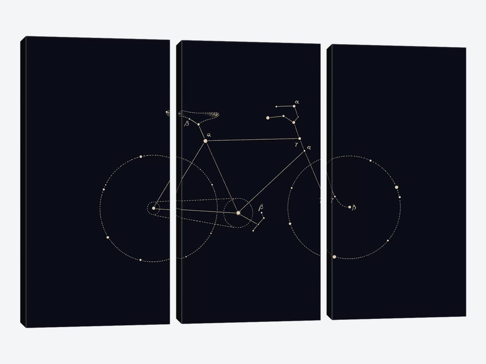 Bike Constellation by Florent Bodart 3-piece Canvas Art Print