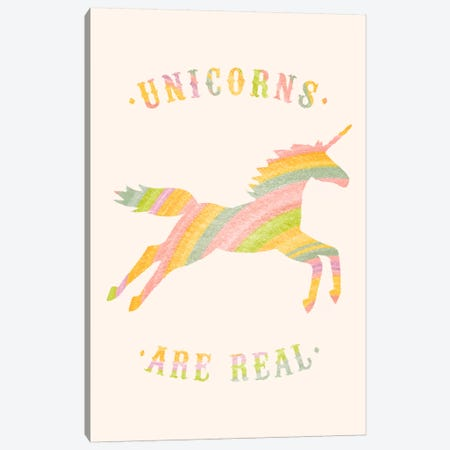 Unicorns Are Real, Color Canvas Print #FLB84} by Florent Bodart Canvas Wall Art