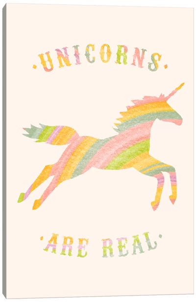 Unicorns Are Real, Color Canvas Art Print