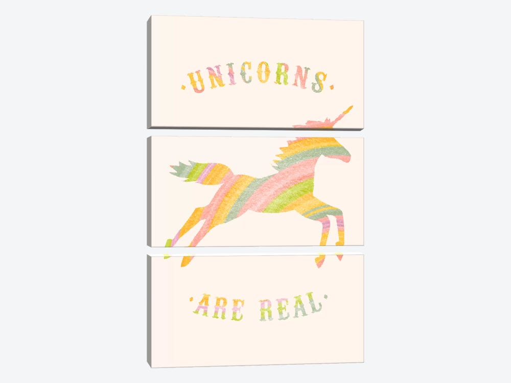 Unicorns Are Real, Color by Florent Bodart 3-piece Canvas Wall Art