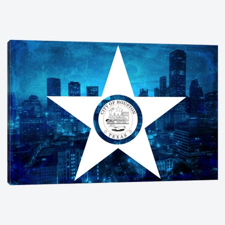 City Flag Overlay Series: Houston, Texas (Downtown Skyline) Canvas Print #FLG109} by iCanvas Canvas Art Print
